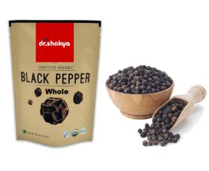 dr.shakya Organic Black Pepper (Kali Mirch) Whole, 100g