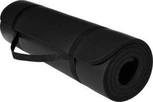 dr.shakya Eco Friendly Black 6 mm Yoga Mat For Men & Women With strap