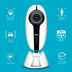 Qubo Smart Outdoor Security WiFi Camera (White) with Face Mask Detection | Intruder Alarm System | Weatherproof | Continuous Recording 24×7 in 1080p Full HD | by Hero Group