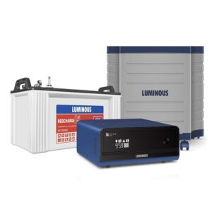 Luminous Inverter & Battery Combo with Trolley for Home, Office & Shops (Zelio+ 1100 Pure Sine Wave Inverter, RC 15000 120 Ah Tall Tubular Battery), Blue