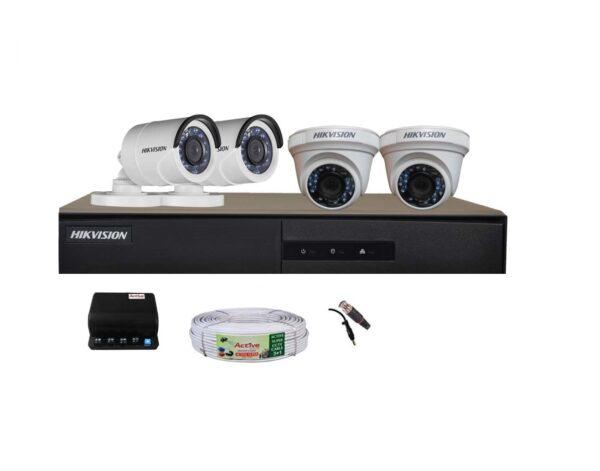 Hikvision Full HD (2MP) 4 CCTV Camera & 4Ch.Full HD DVR Kit (All Accessories)