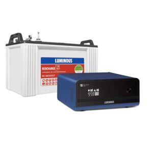 Luminous Zelio+ 1100 Pure Sine Wave Inverter with Red Charge RC 18000 ST 150 Ah Short Tubular Battery for Home, Office & Shops (Blue & White)