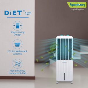 Symphony Diet 12 T Tower Air Cooler – 12 Liter, White