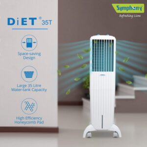 Symphony Diet 35T Tower Cooler – 35 Liter (White)